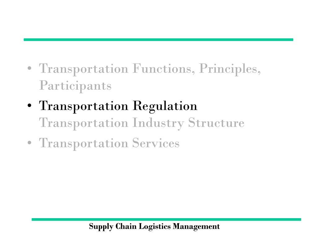 Transportation Functions, Principles, Participants