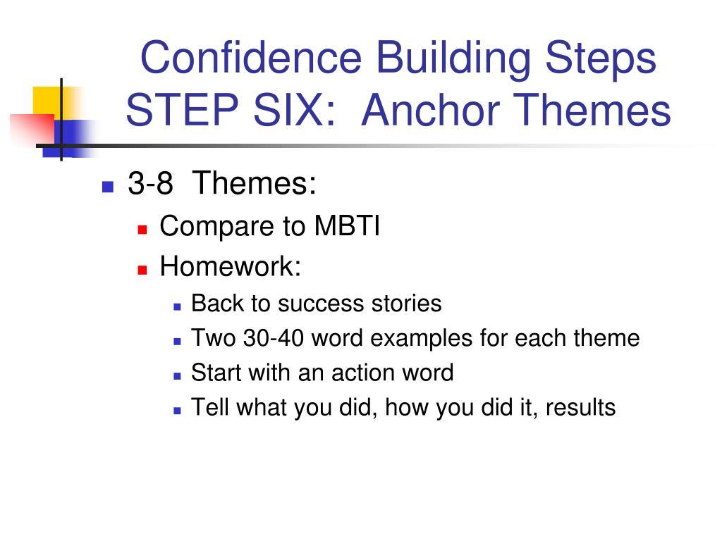 Confidence Building Steps