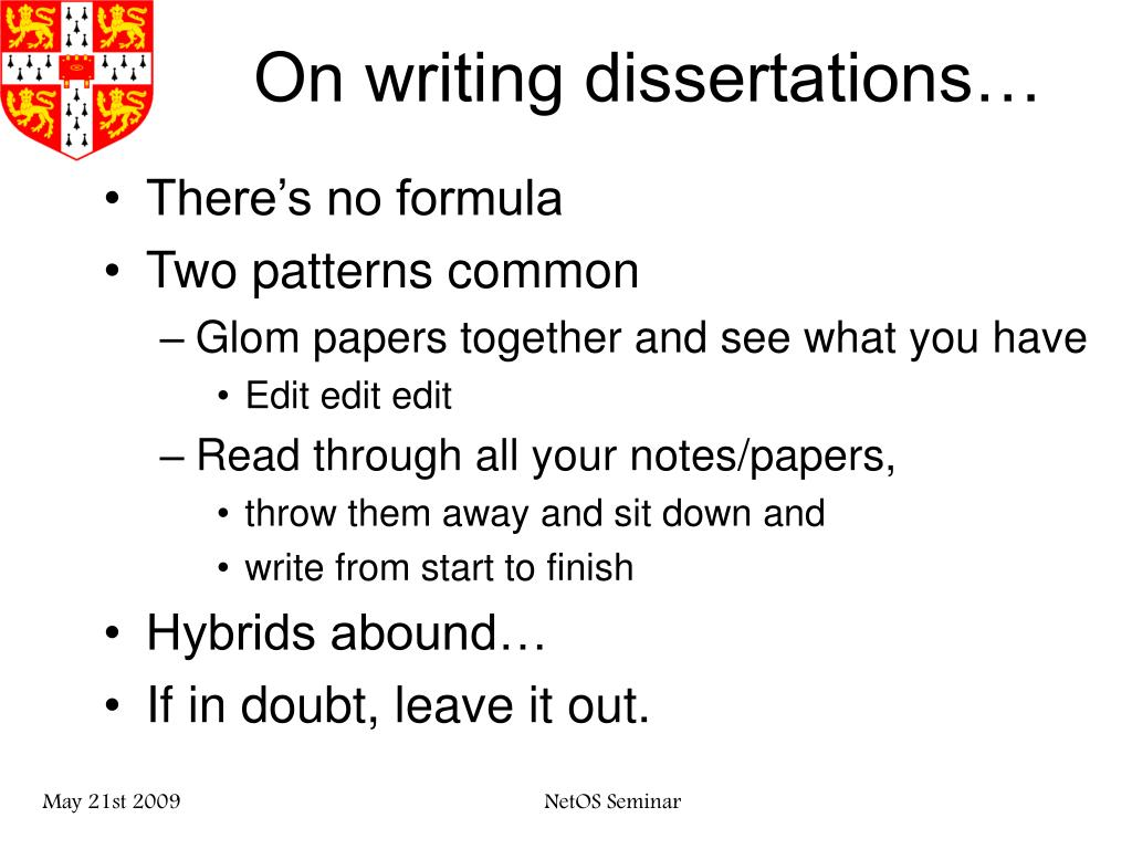 On writing dissertations…
