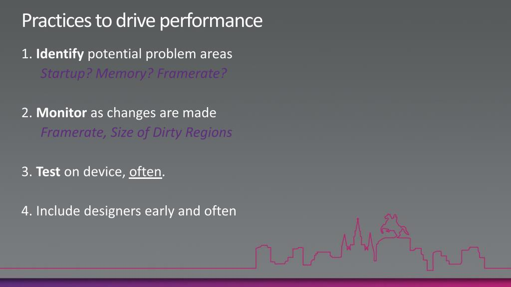 Practices to drive performance