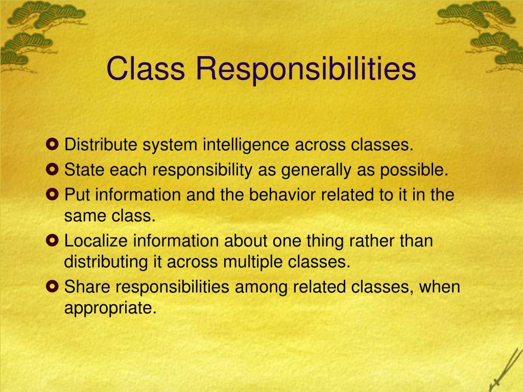 Class Responsibilities