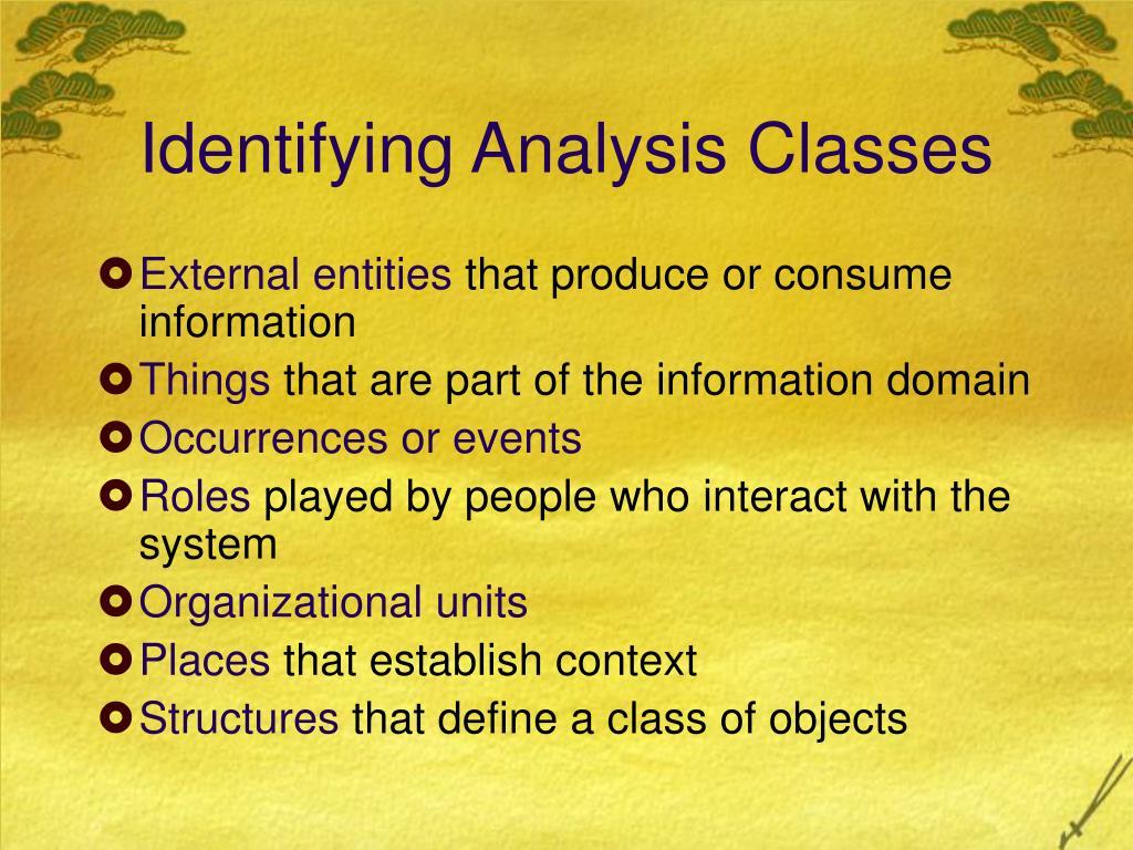 Identifying Analysis Classes