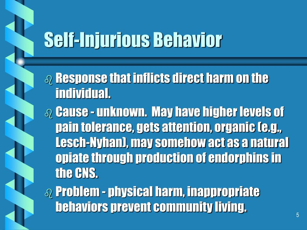 self injurious behavior Self-injurious behavior can be common among children with autism spectrum disorder learn about strategies of intervention to reduce self harm.