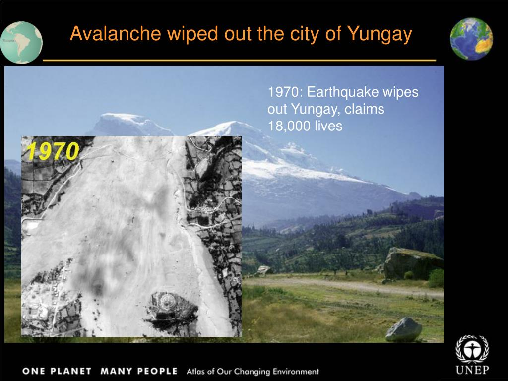 Avalanche wiped out the city of Yungay