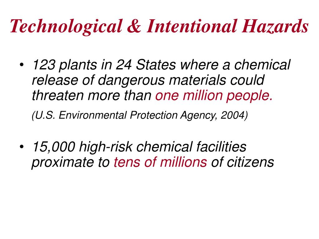 Technological & Intentional Hazards