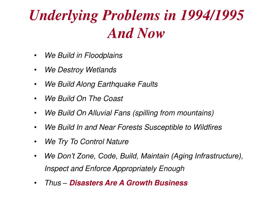 Underlying Problems in 1994/1995