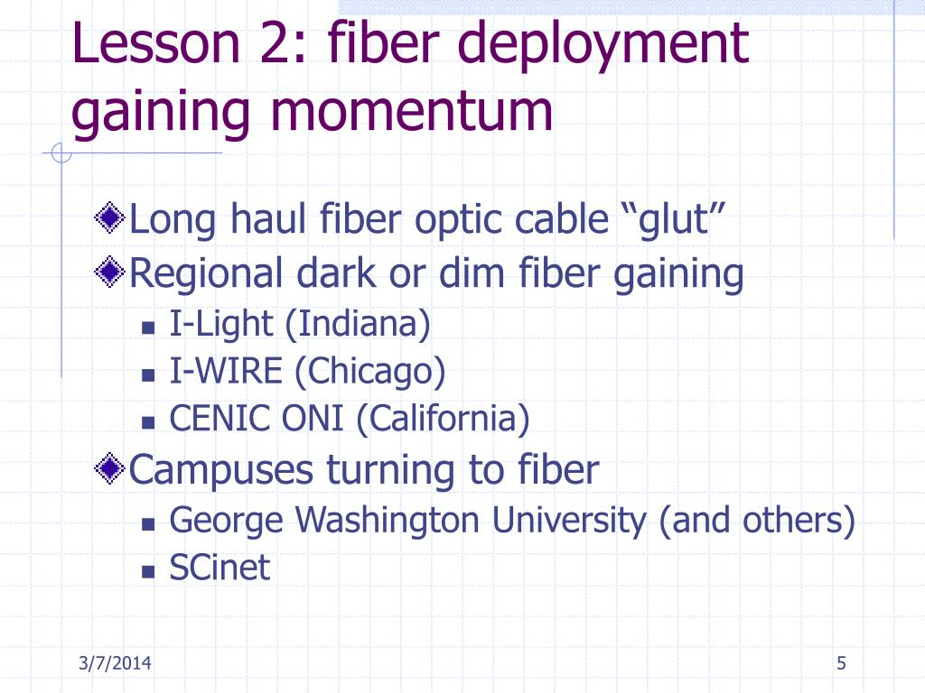 Lesson 2: fiber deployment gaining momentum