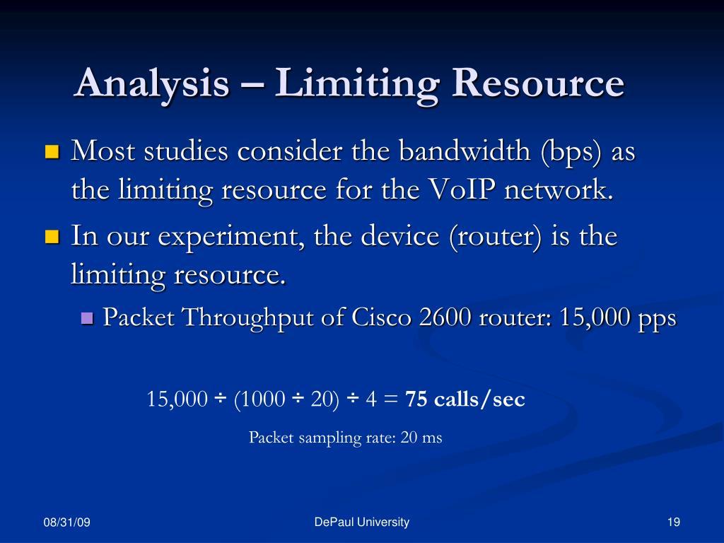 Analysis – Limiting Resource