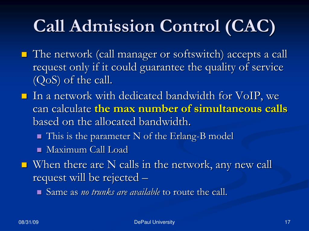 Call Admission Control (CAC)