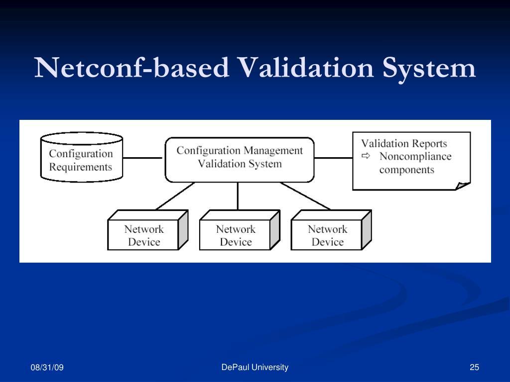 Netconf-based Validation System