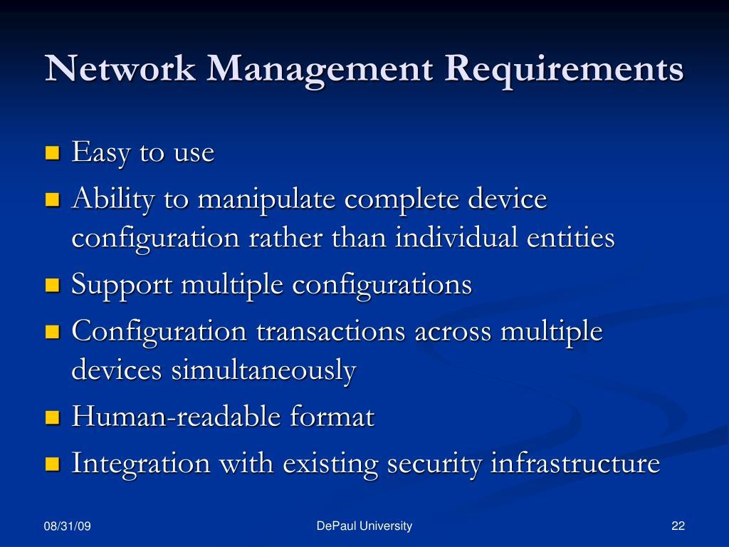 Network Management Requirements