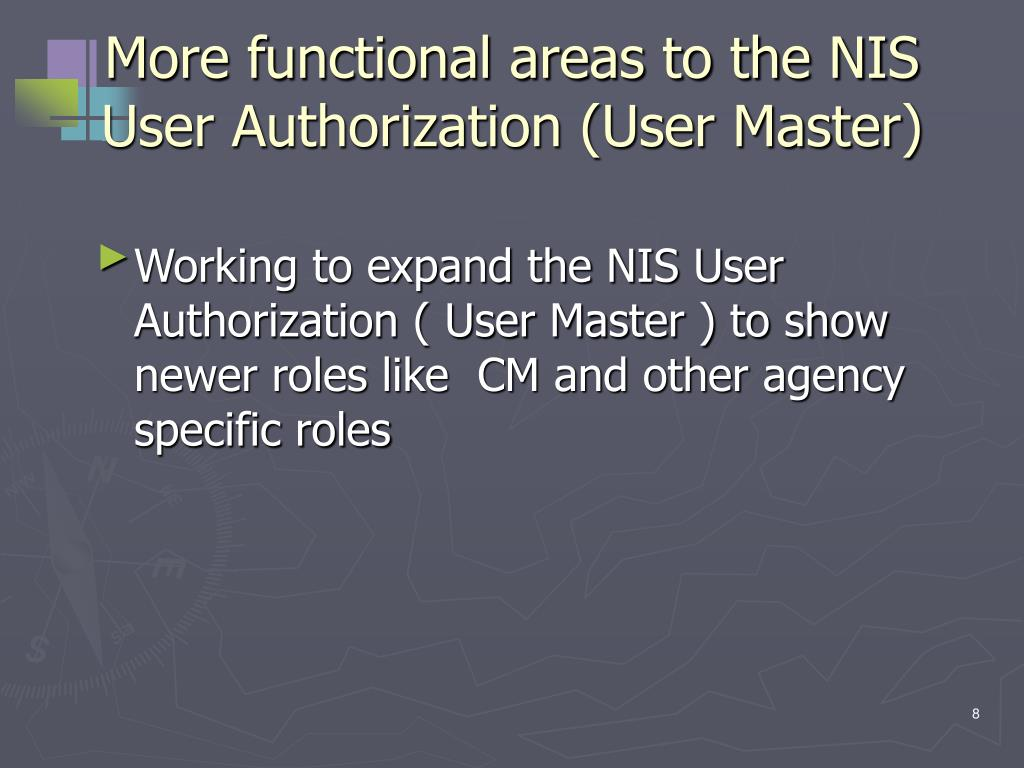 More functional areas to the NIS User Authorization (User Master)