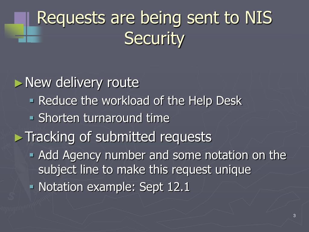 Requests are being sent to NIS Security