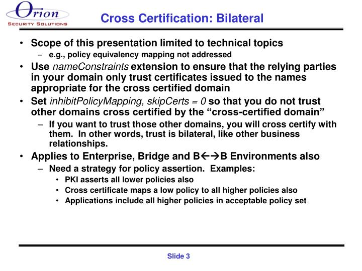 Cross certification bilateral