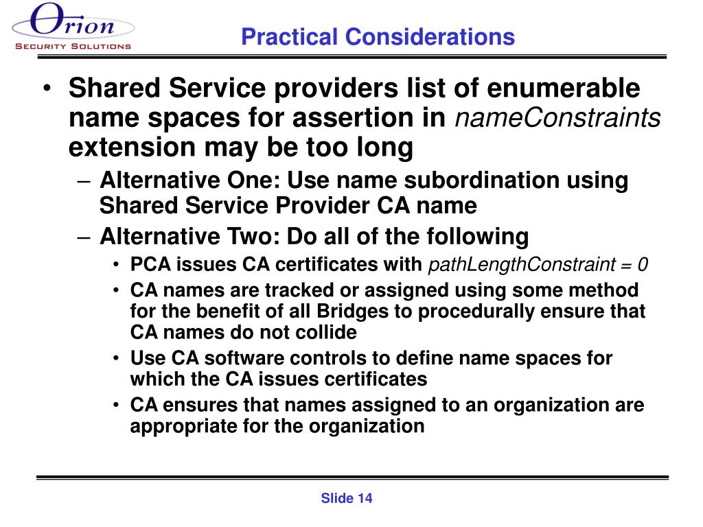 Shared Service providers list of enumerable name spaces for assertion in