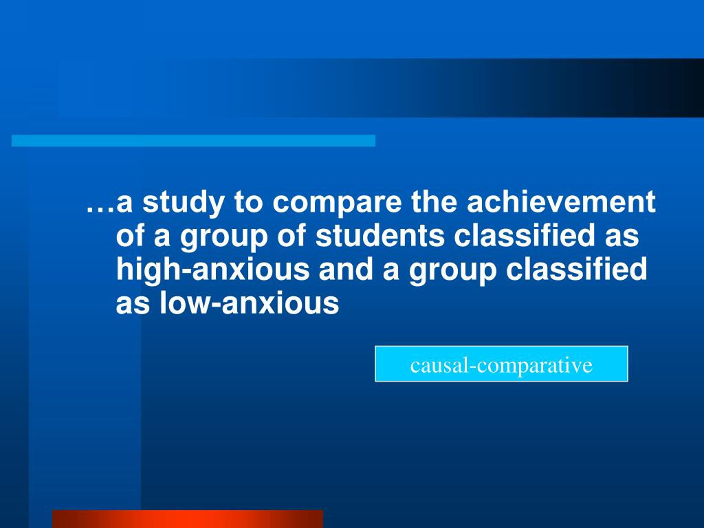…a study to compare the achievement of a group of students classified as high-anxious and a group classified as low-anxious