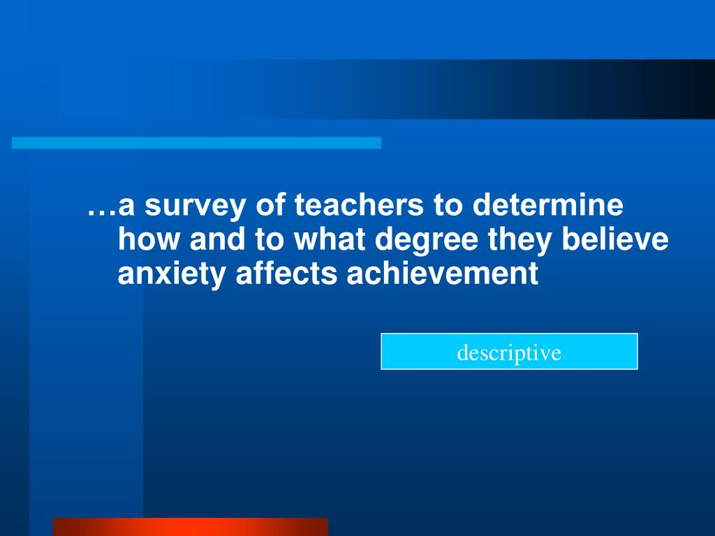 …a survey of teachers to determine how and to what degree they believe anxiety affects achievement