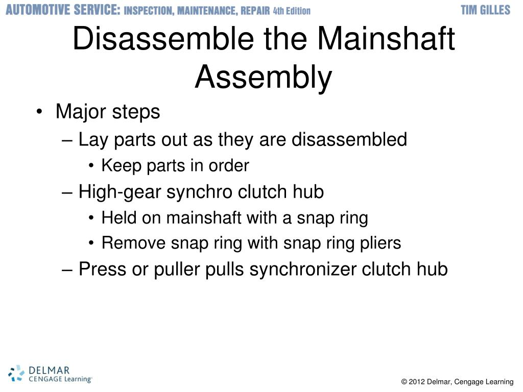 Disassemble the Mainshaft Assembly