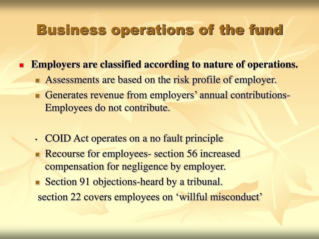 Business operations of the fund