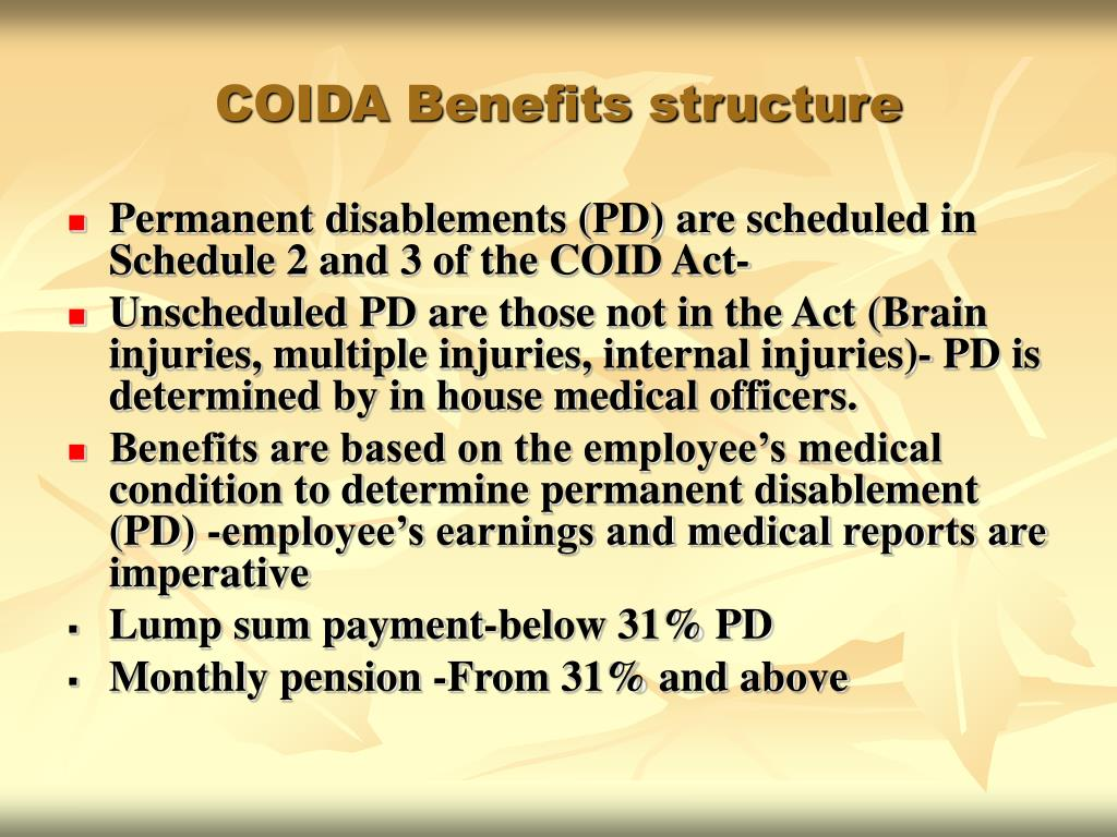 COIDA Benefits structure