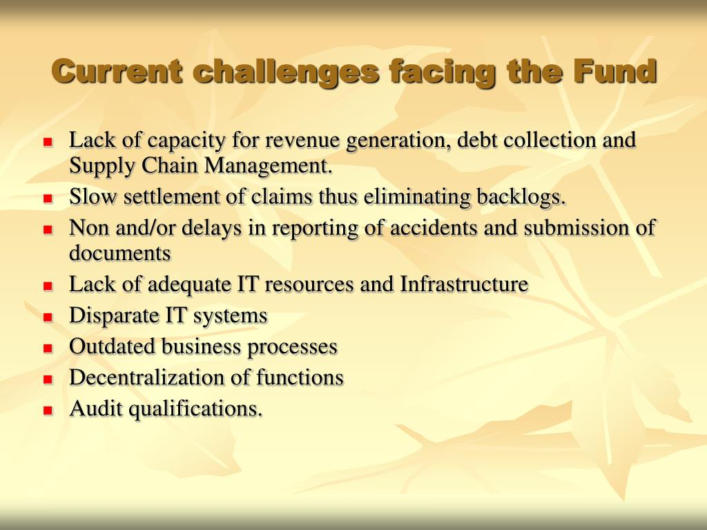 Current challenges facing the Fund