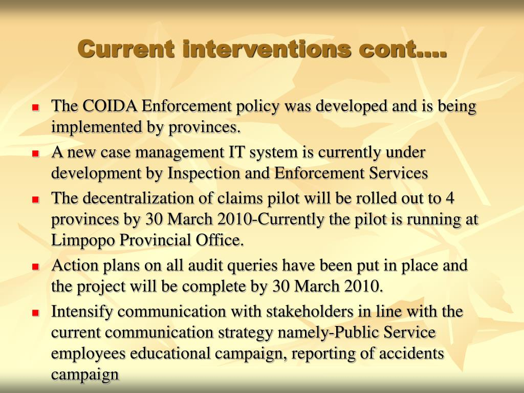 Current interventions cont….