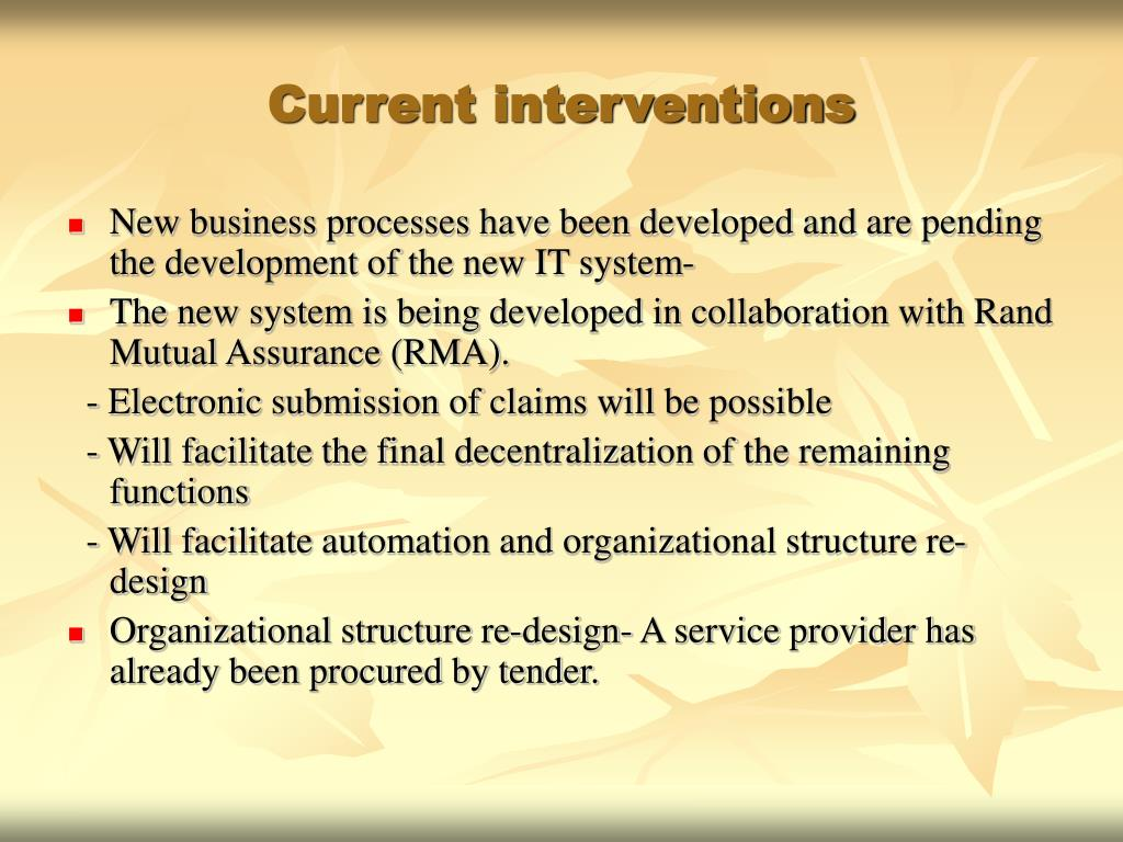 Current interventions
