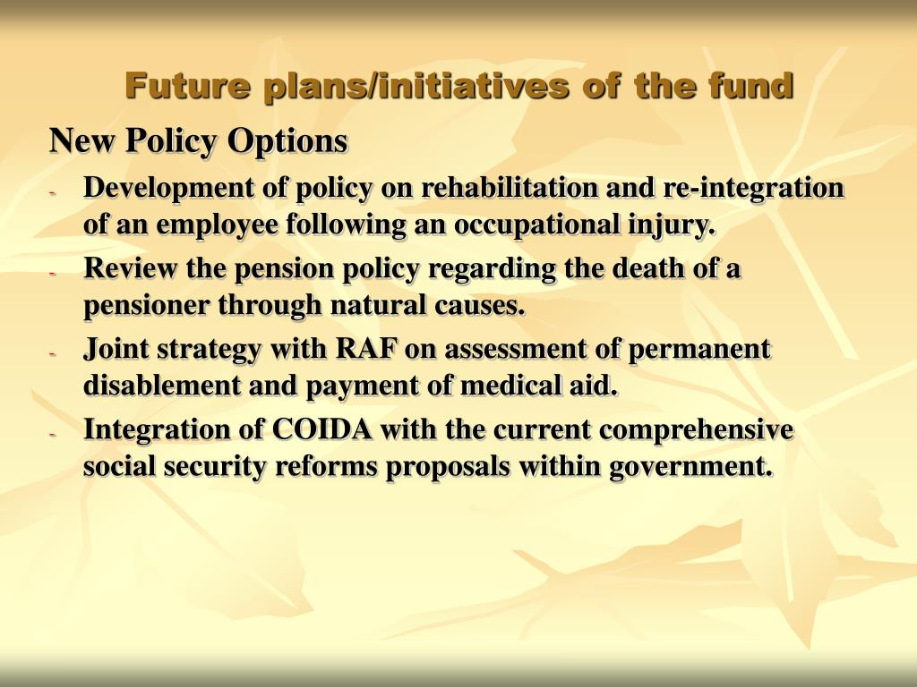 Future plans/initiatives of the fund