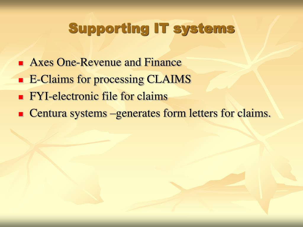 Supporting IT systems