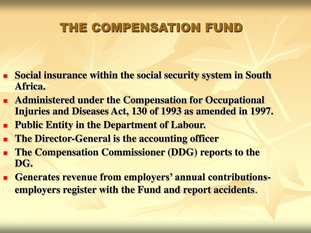 Social insurance within the social security system in South Africa.