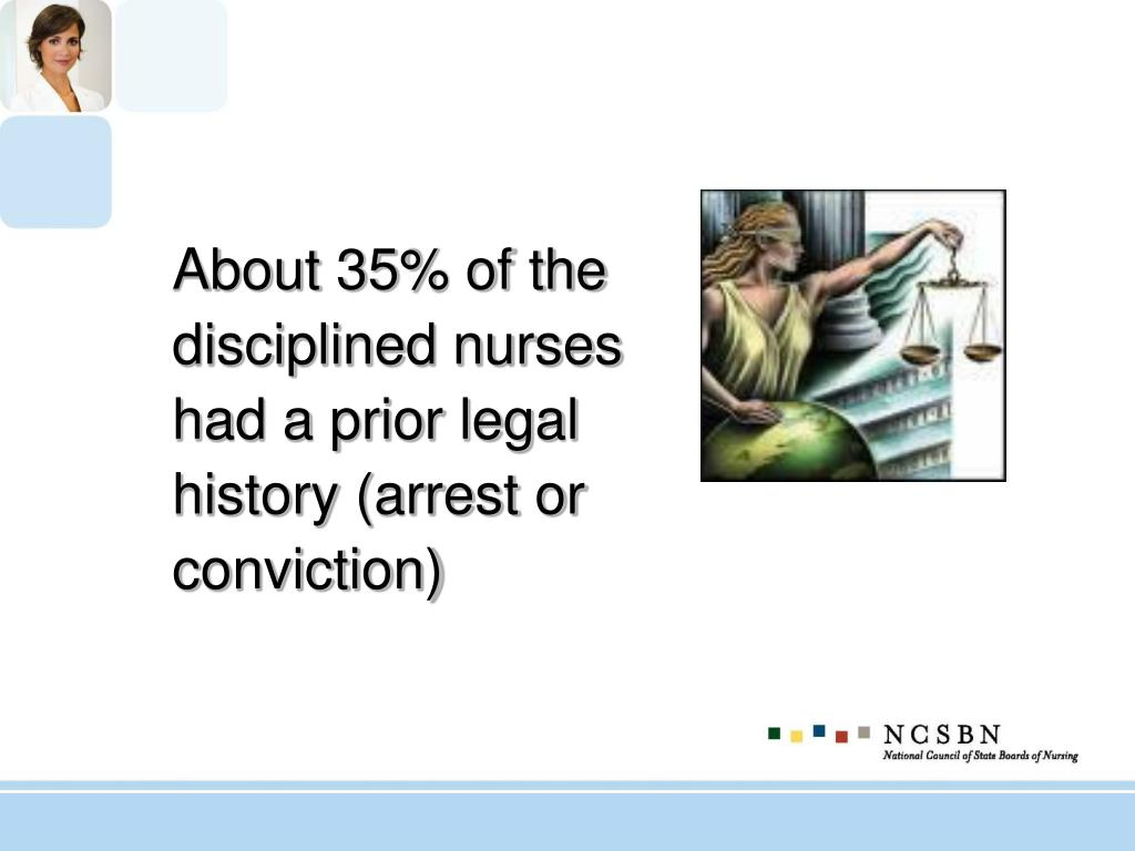 About 35% of the disciplined nurses had a prior legal history (arrest or conviction)