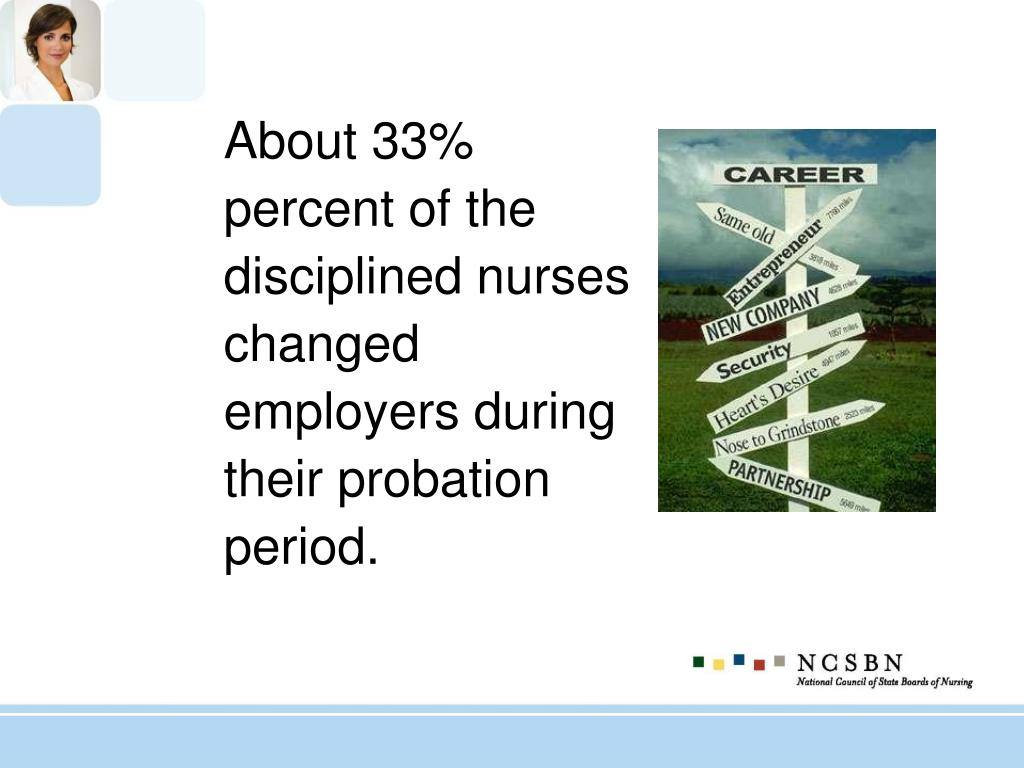 About 33% percent of the disciplined nurses changed employers during their probation period.
