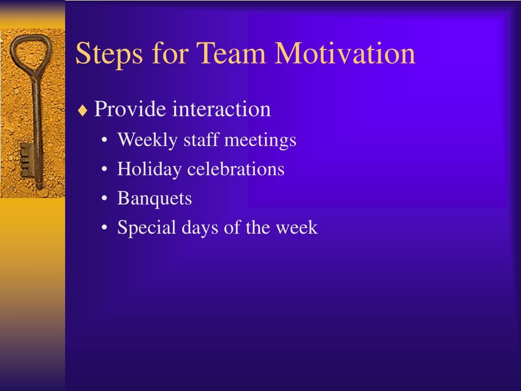 Steps for Team Motivation