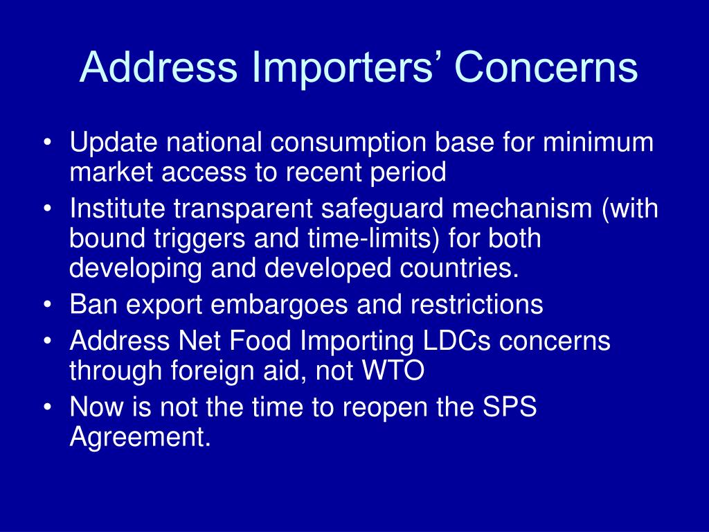 Address Importers' Concerns