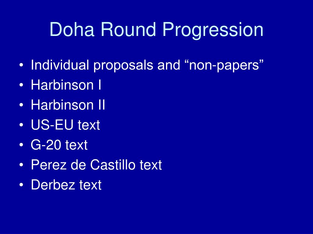 Doha Round Progression