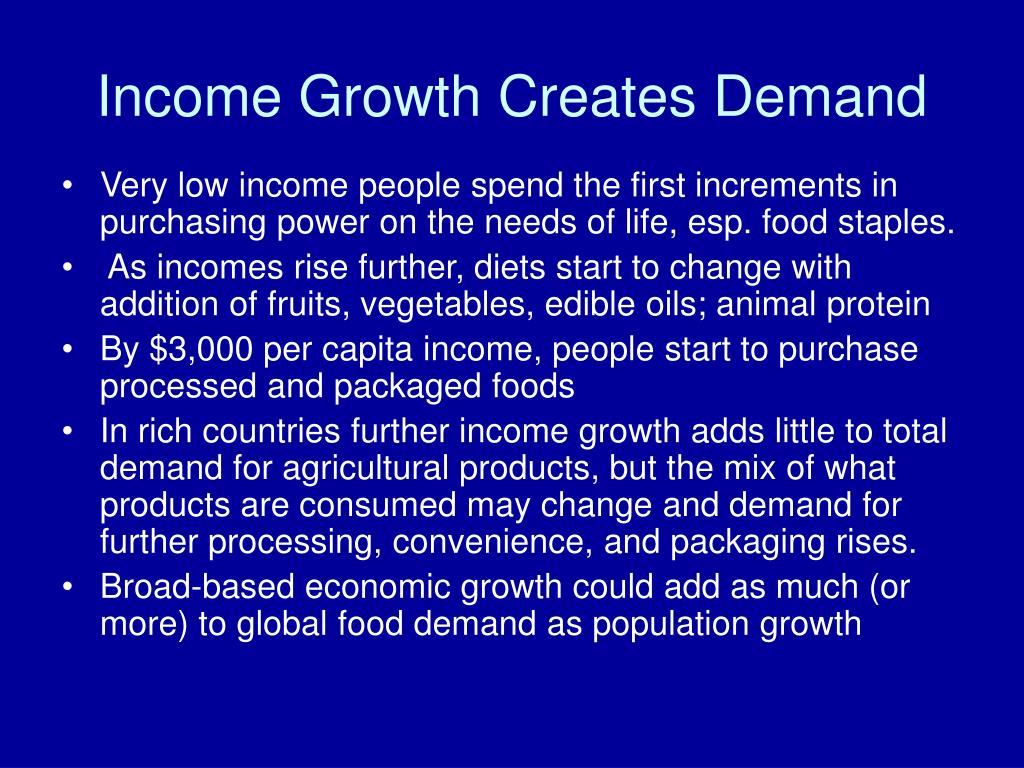 Income Growth Creates Demand