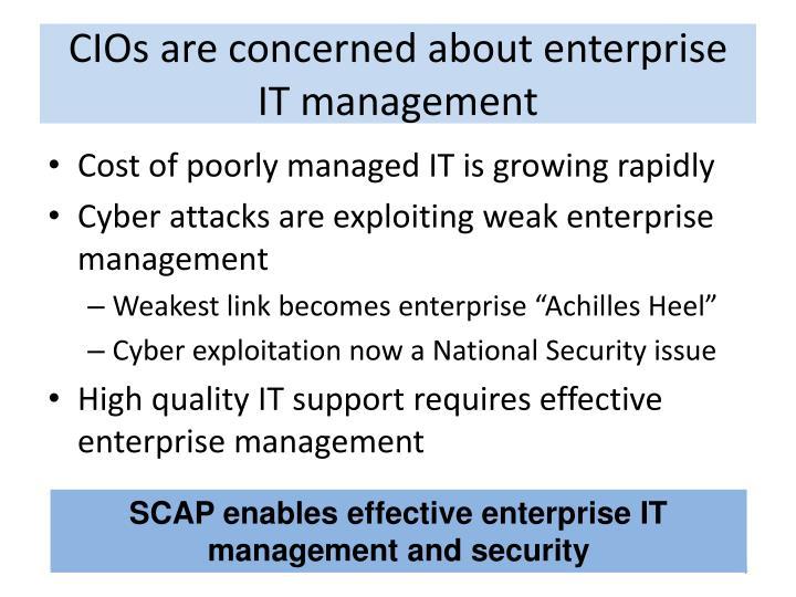 CIOs are concerned about enterprise IT management