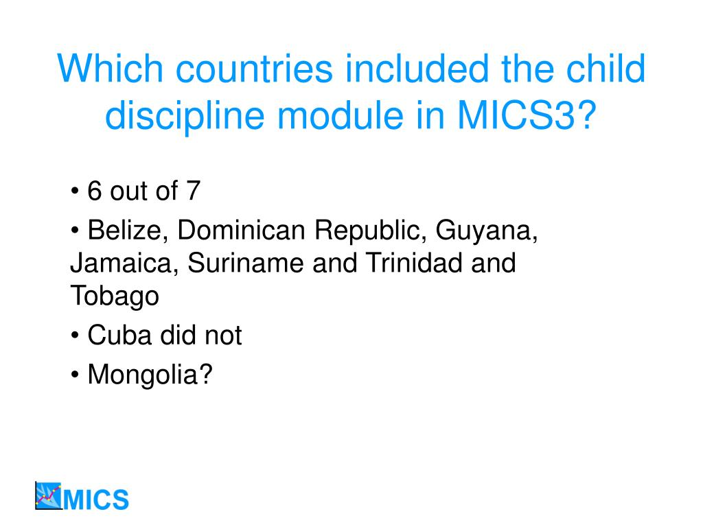 Which countries included the child discipline module in MICS3?