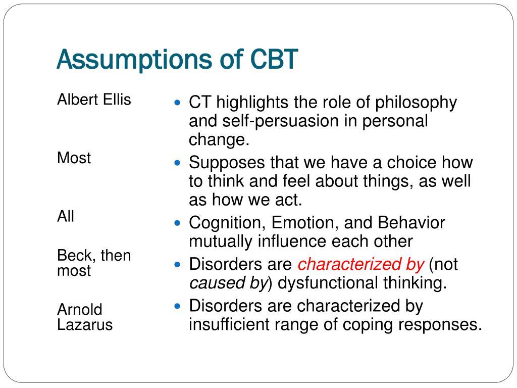 Assumptions of CBT