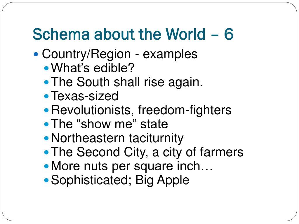 Schema about the World – 6