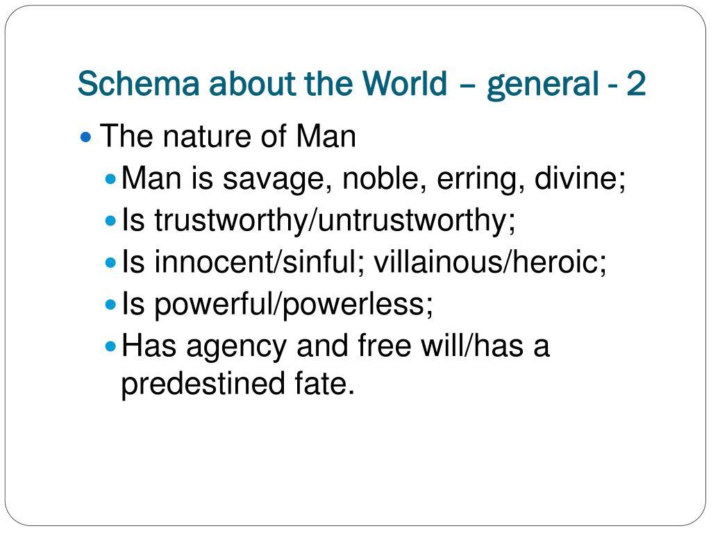 Schema about the World – general - 2