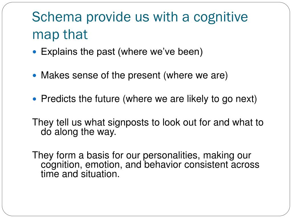 Schema provide us with a cognitive map that