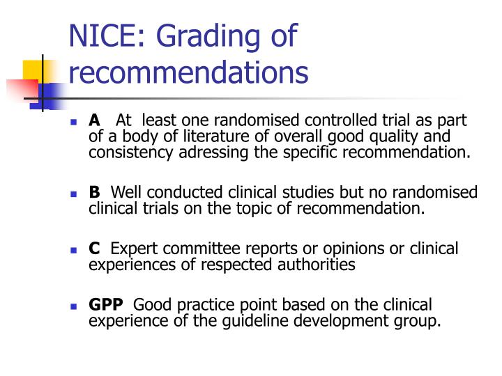 NICE: Grading of recommendations