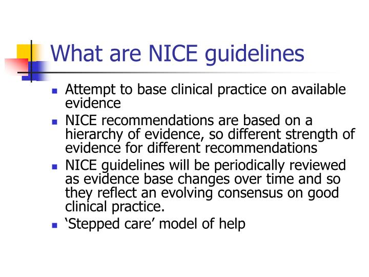 What are NICE guidelines