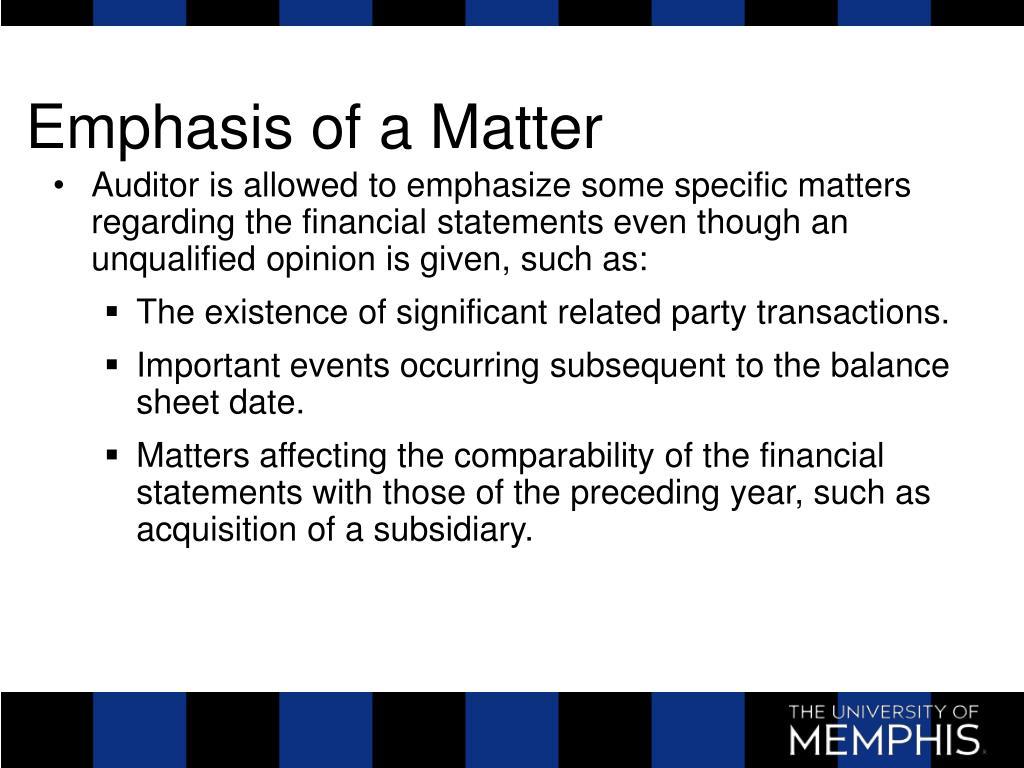 Emphasis of a Matter
