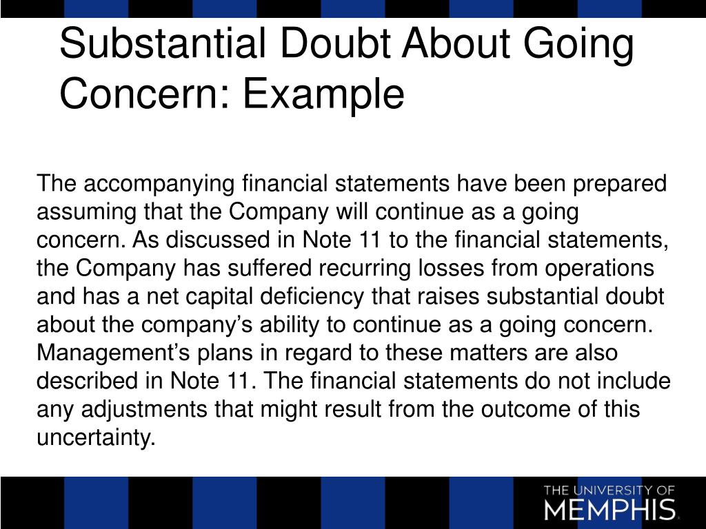 Substantial Doubt About Going Concern: Example
