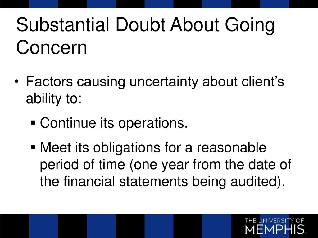 Substantial Doubt About Going Concern