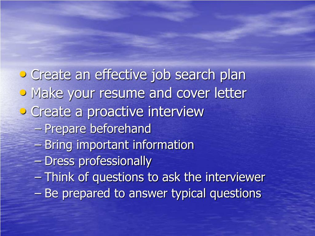 Create an effective job search plan