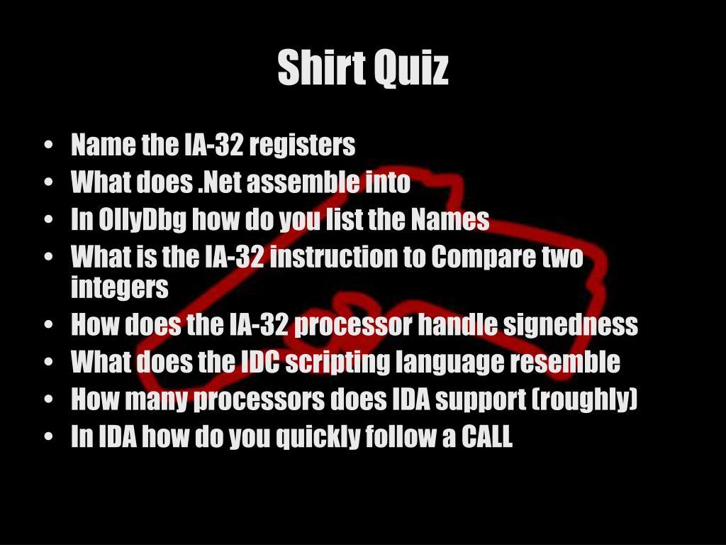 Shirt Quiz