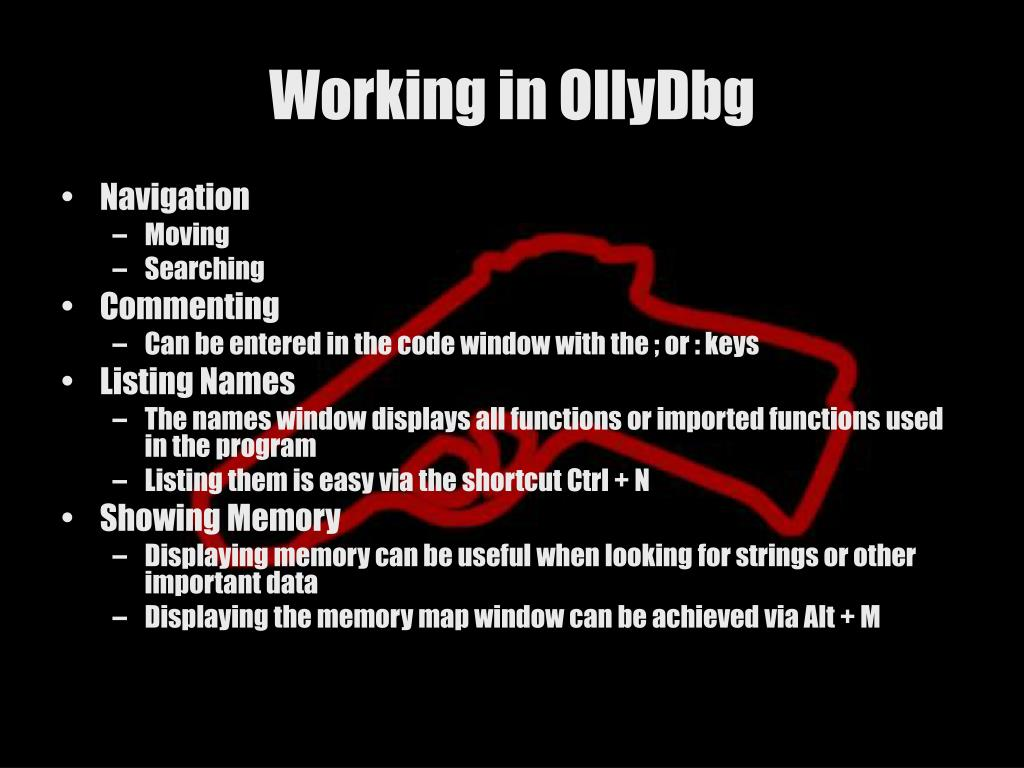 Working in OllyDbg